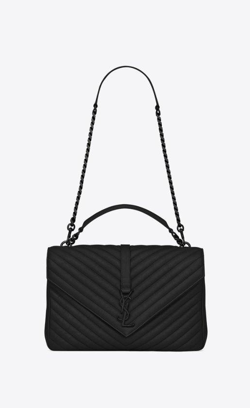 saint laurent black and black hardware college bag